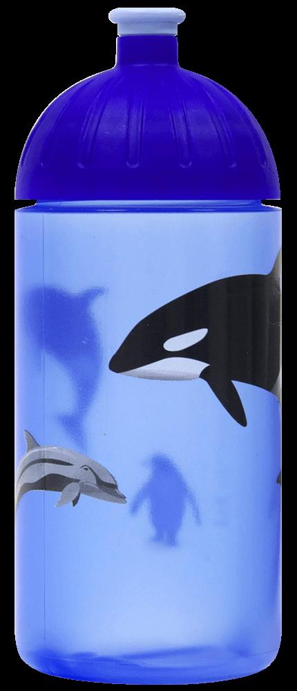 ISYbe Schul-Trinkflasche Haie 0,5L Kohlensäure geeign BPA-frei auslaufsicher